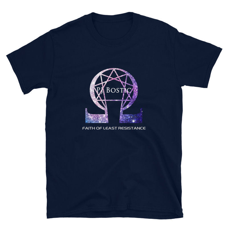 Faith of Least Resistance T-shirt (navy w/purple logo, front & back print)