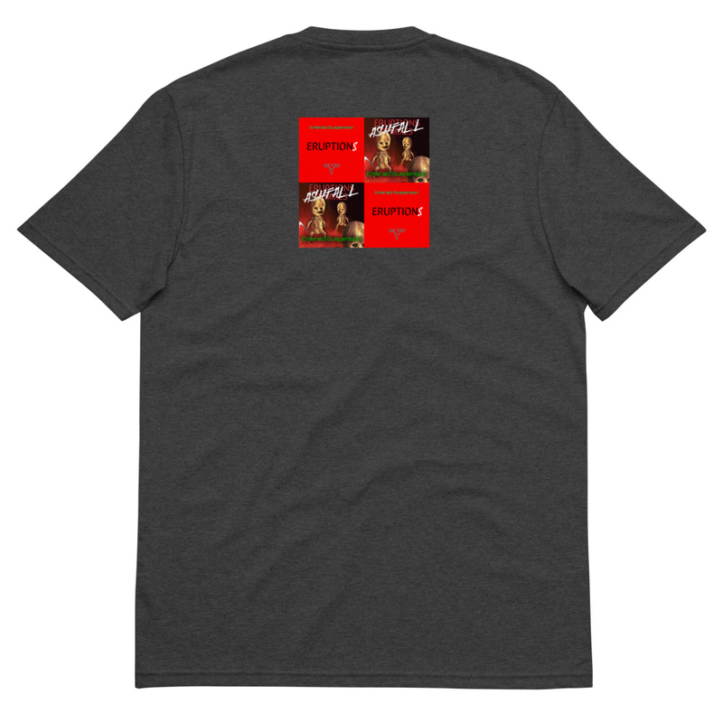 Recycled t-shirt with doll on front and Eruptions and Ashfall album covers on back