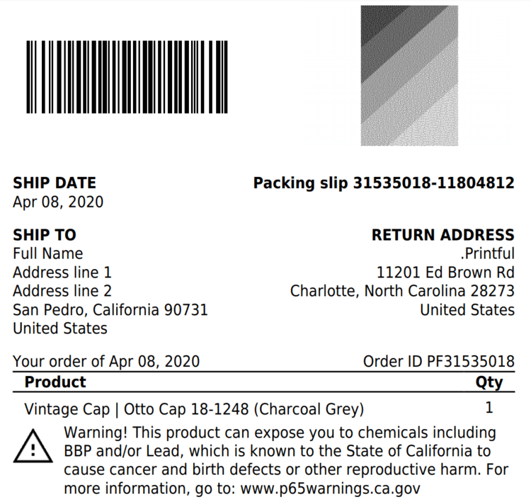 Example of a packing slip going to California