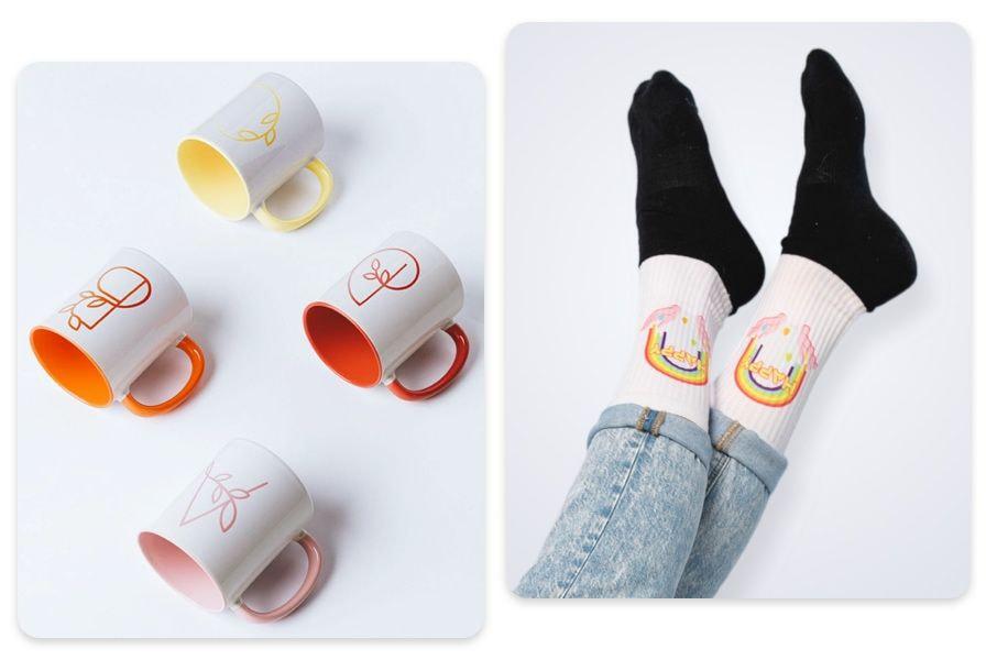 tazas y calcetines sublimados
