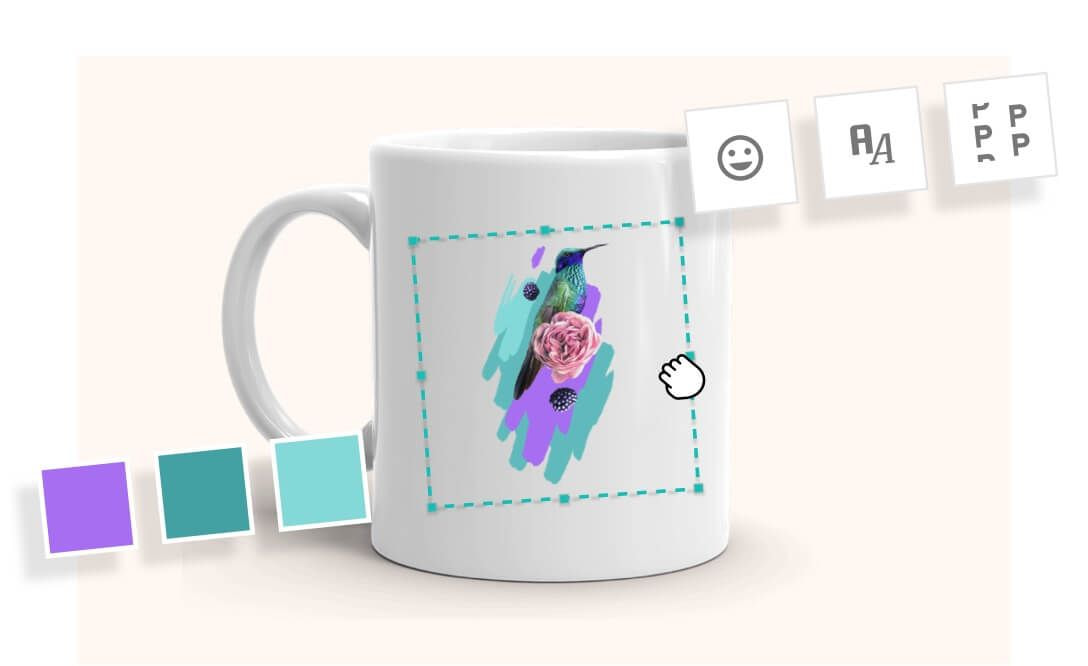 Lignes ou graphiques sur un mug