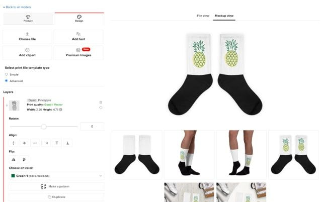 Mirror your graphics to get a matching pair of socks