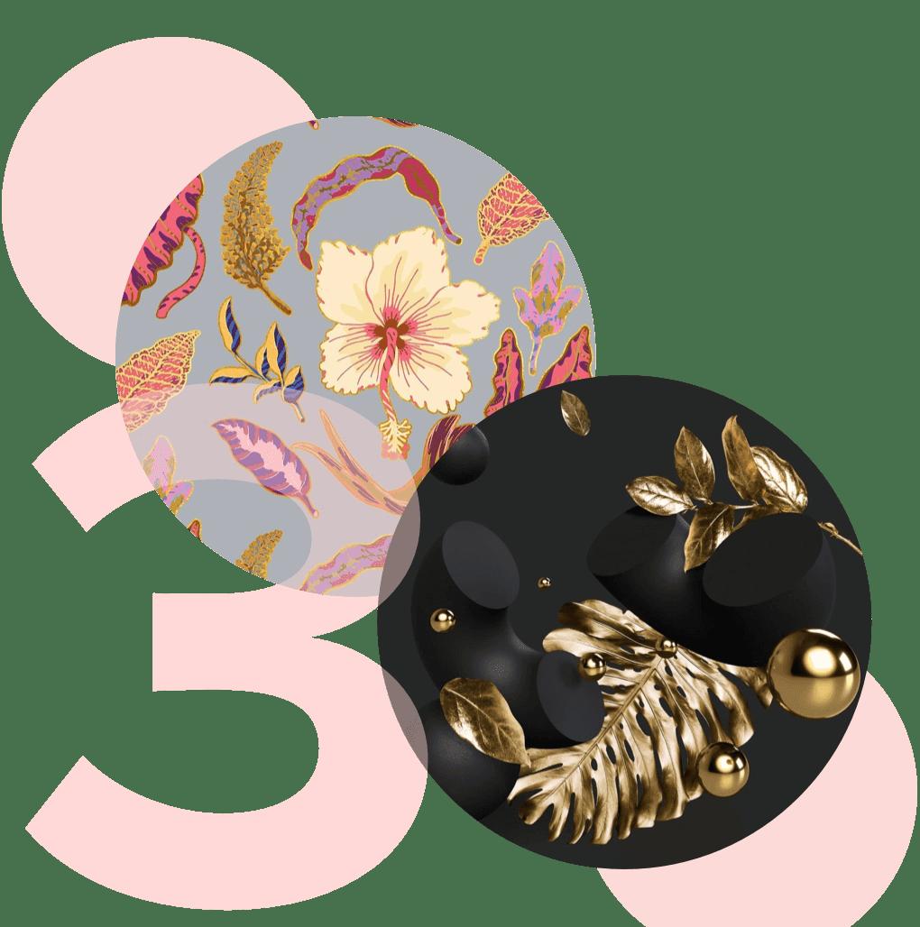 diseños florales en círculos