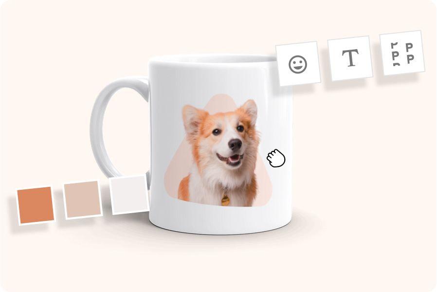 tazza con foto di un cane e strumenti di design