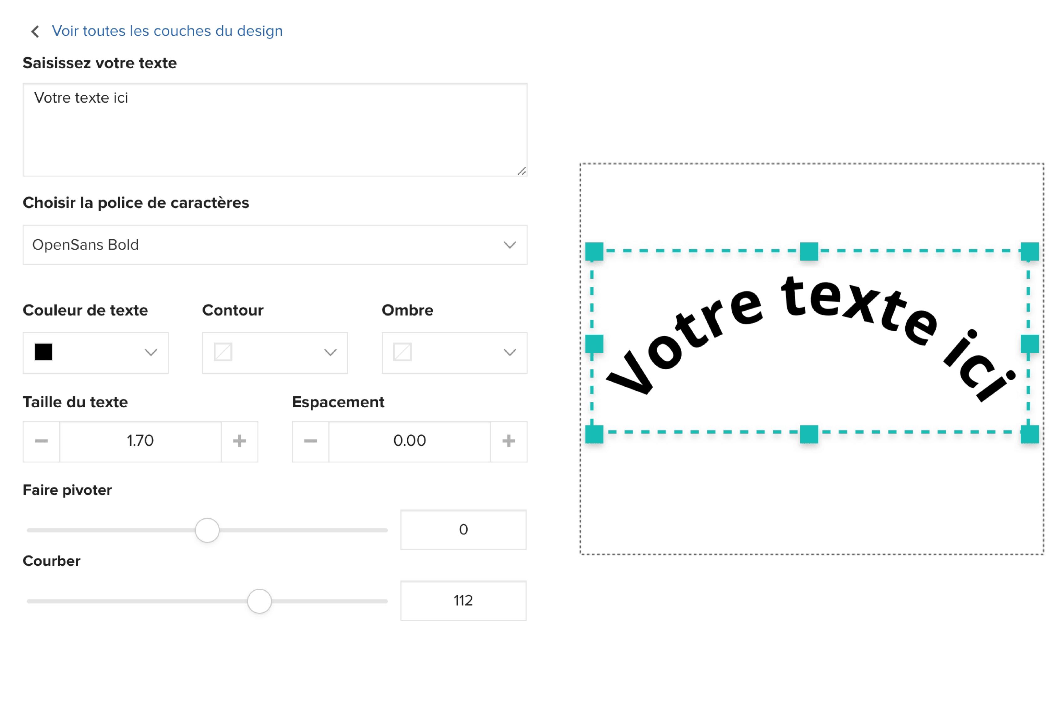 Outil de texte pour tote bag brodé