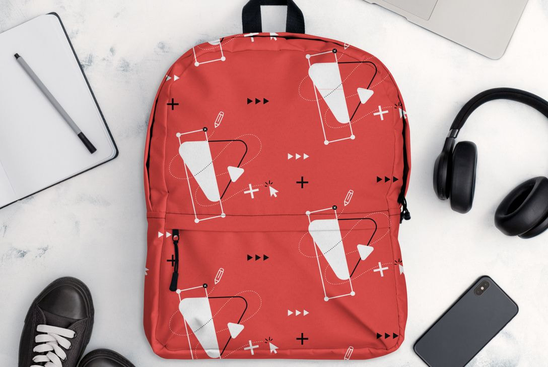 Red personalised backpack