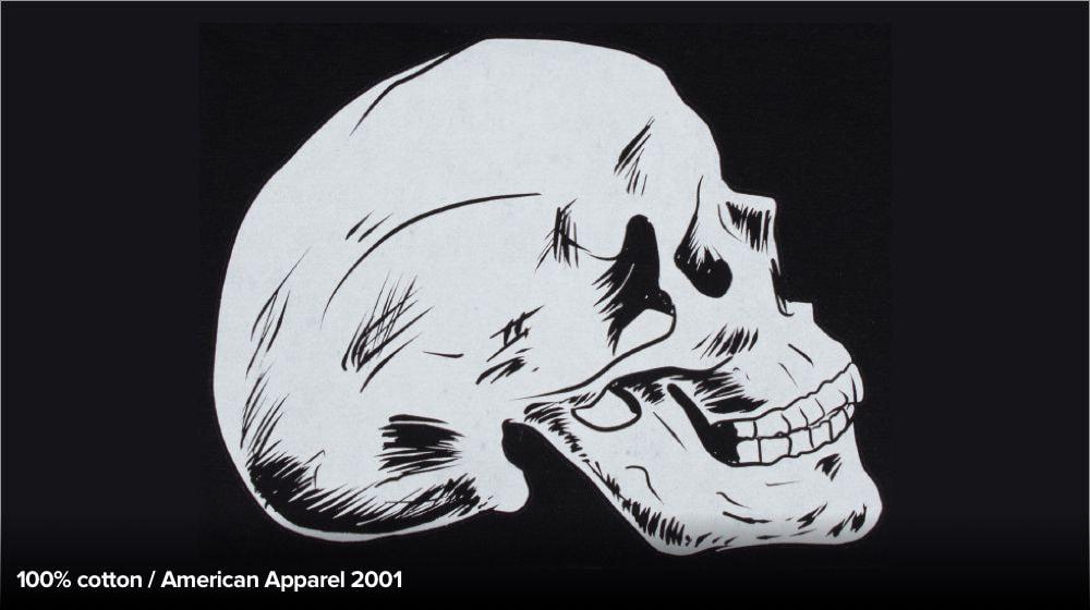 Motif de crâne imprimé sur un tissu 100% coton