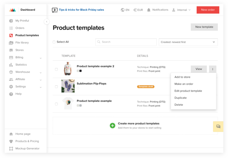 Product template menu