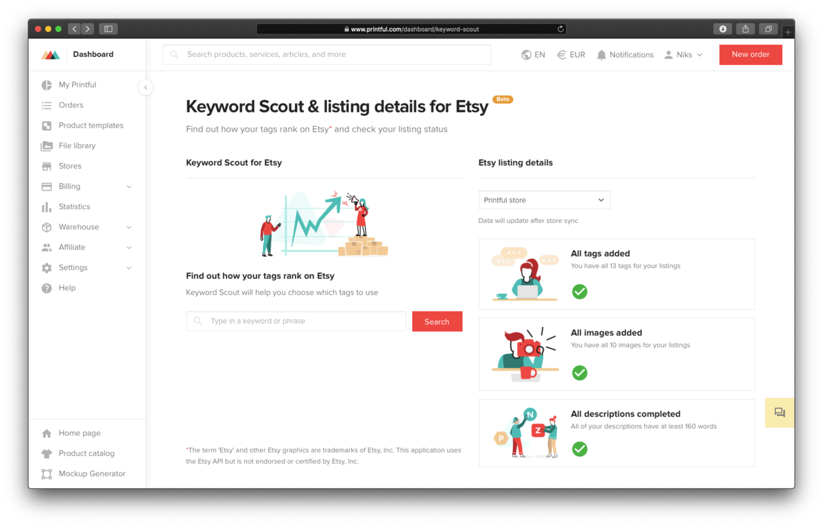 Printful Launches a New Marketplace Keyword Research Tool